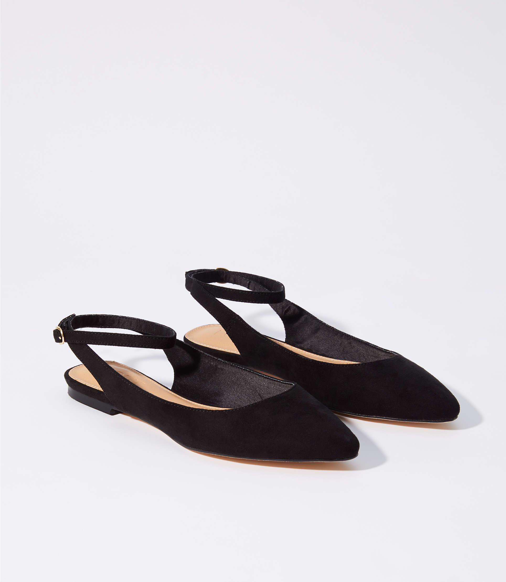 fb7056dfae73 Lyst - LOFT Ankle Strap Flats in Black