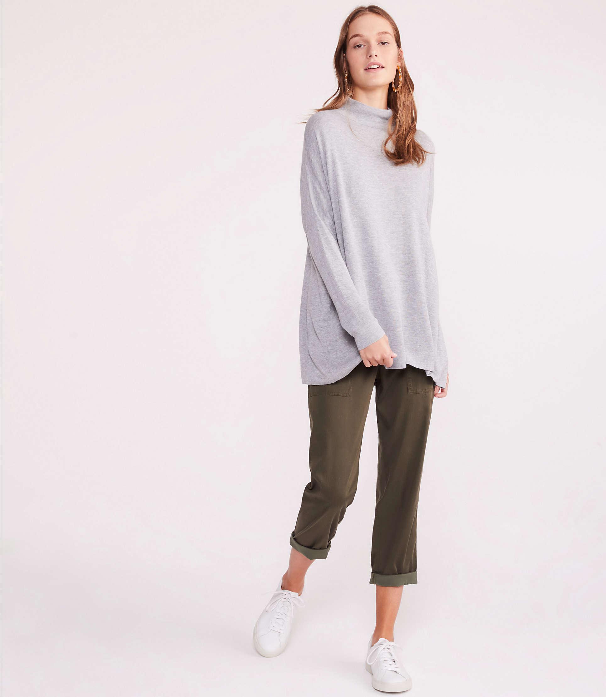 9178a29b425 Lyst - LOFT Lou   Grey Cozy Mock Neck Tunic Sweater in Gray