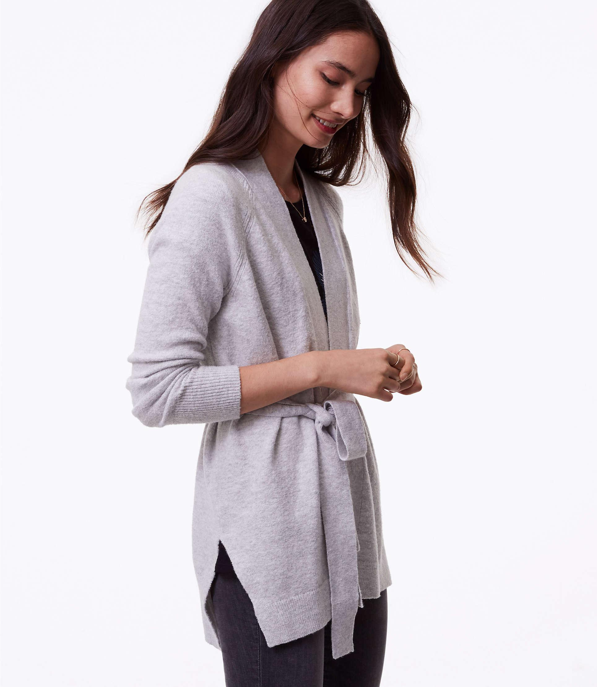 577961208d02 Lyst - LOFT Seamed Belted Cardigan in Gray