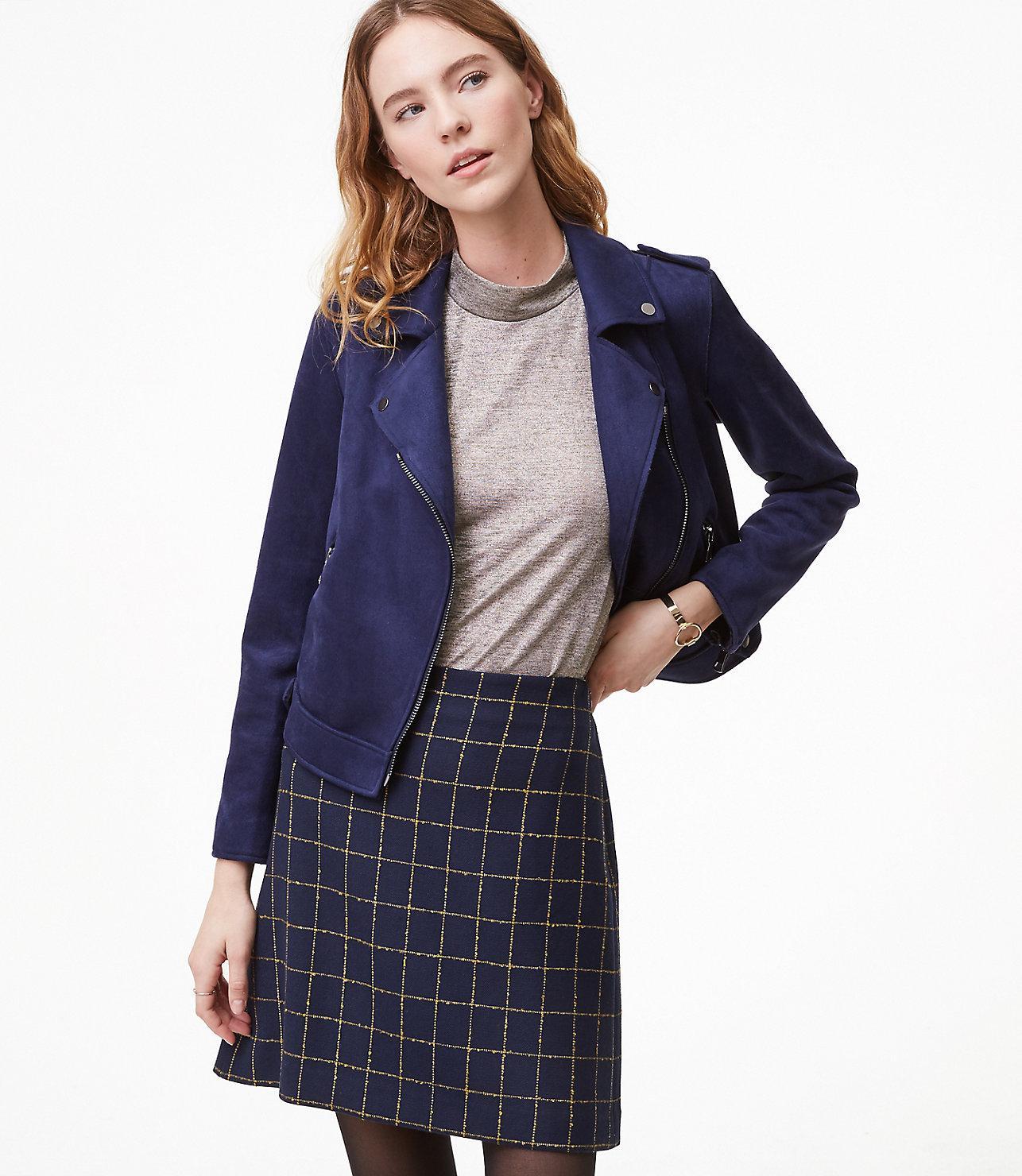 1bdb95fb1 LOFT Petite Windowpane Shift Skirt in Blue - Lyst