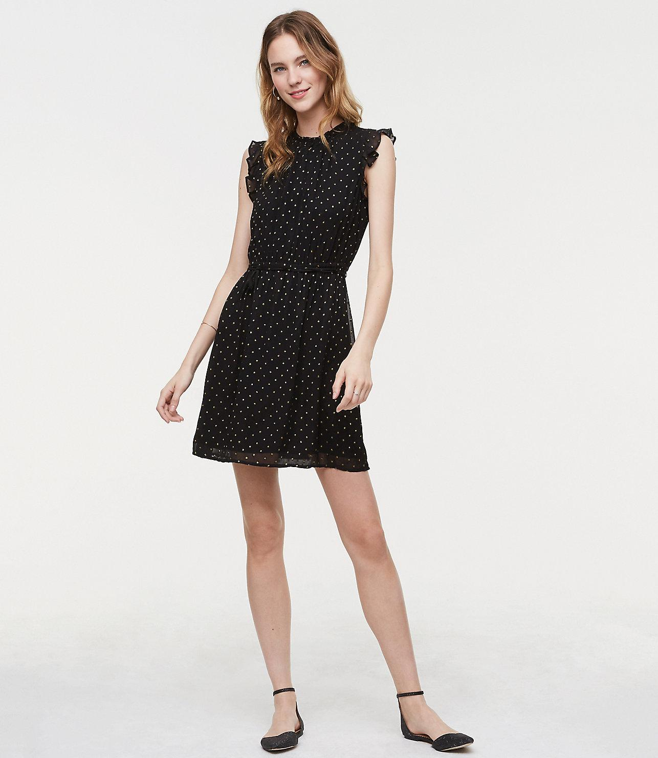 79a59102609 Lyst - LOFT Shimmer Dot Tie Waist Dress in Black