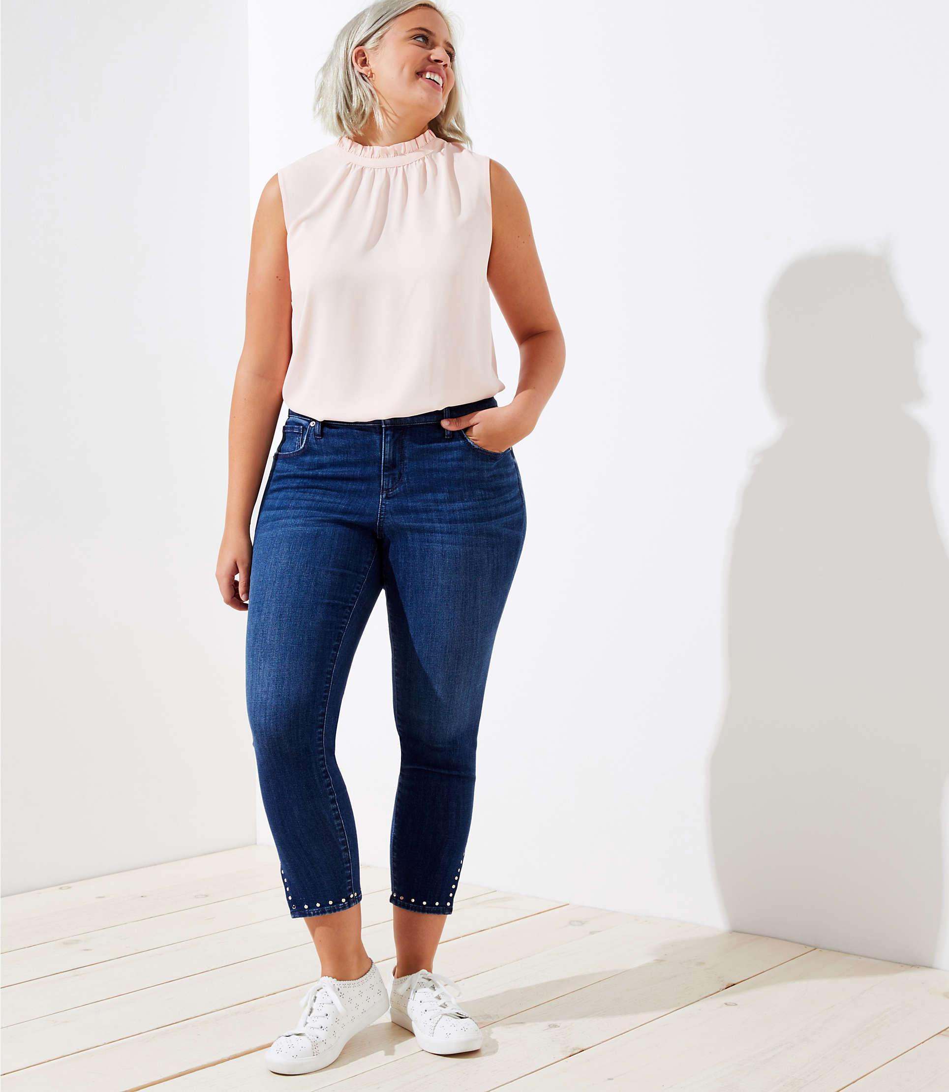 4c8d8cd9590 LOFT Plus Studded Cuff Skinny Jeans In Rich Dark Indigo Wash in Blue ...