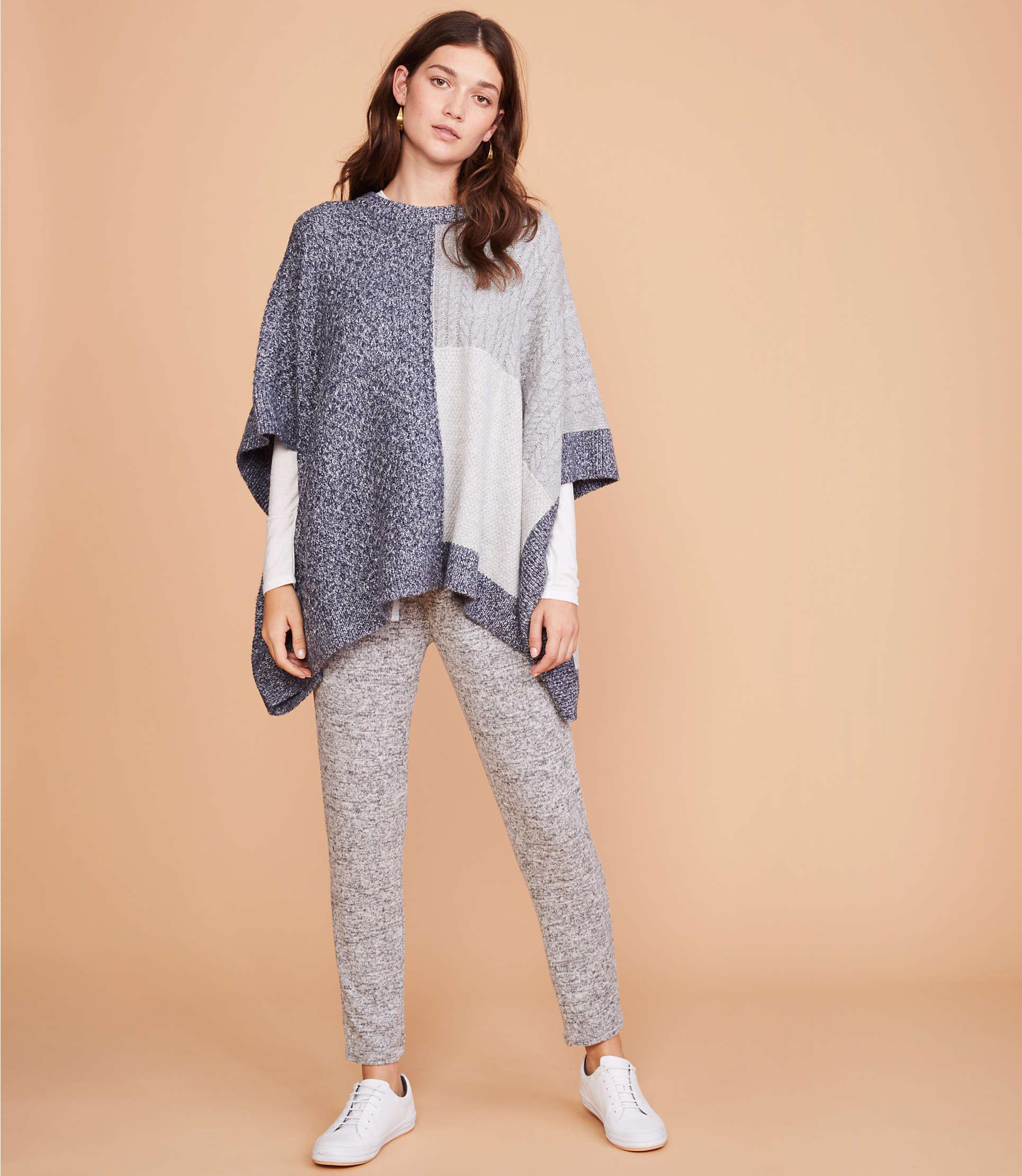 ed97cef7654 LOFT Lou   Grey Patchwork Poncho Sweater in Gray - Lyst