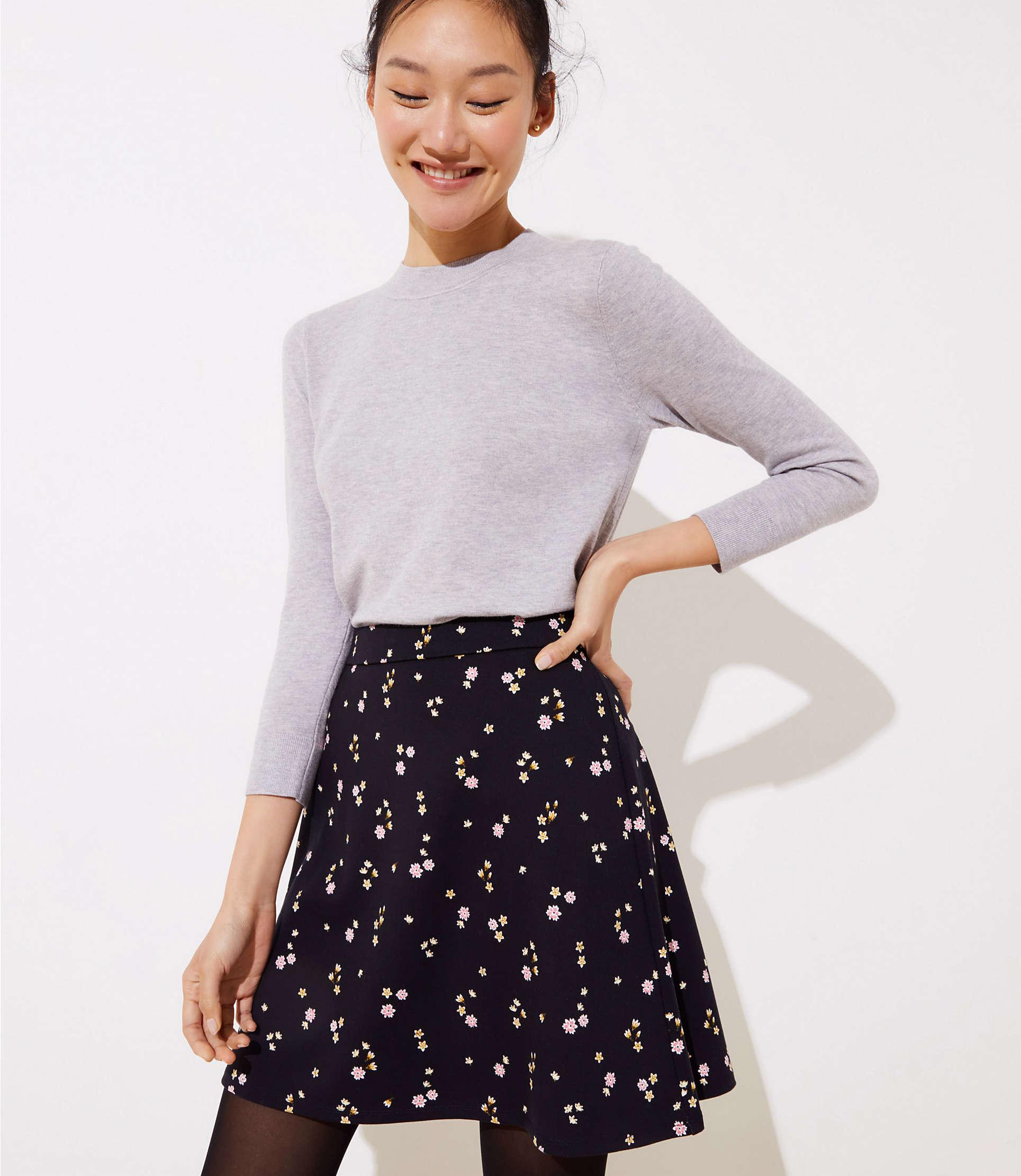 42d07ca7a5d Lyst - Loft Floral Ponte Flippy Skirt in Black
