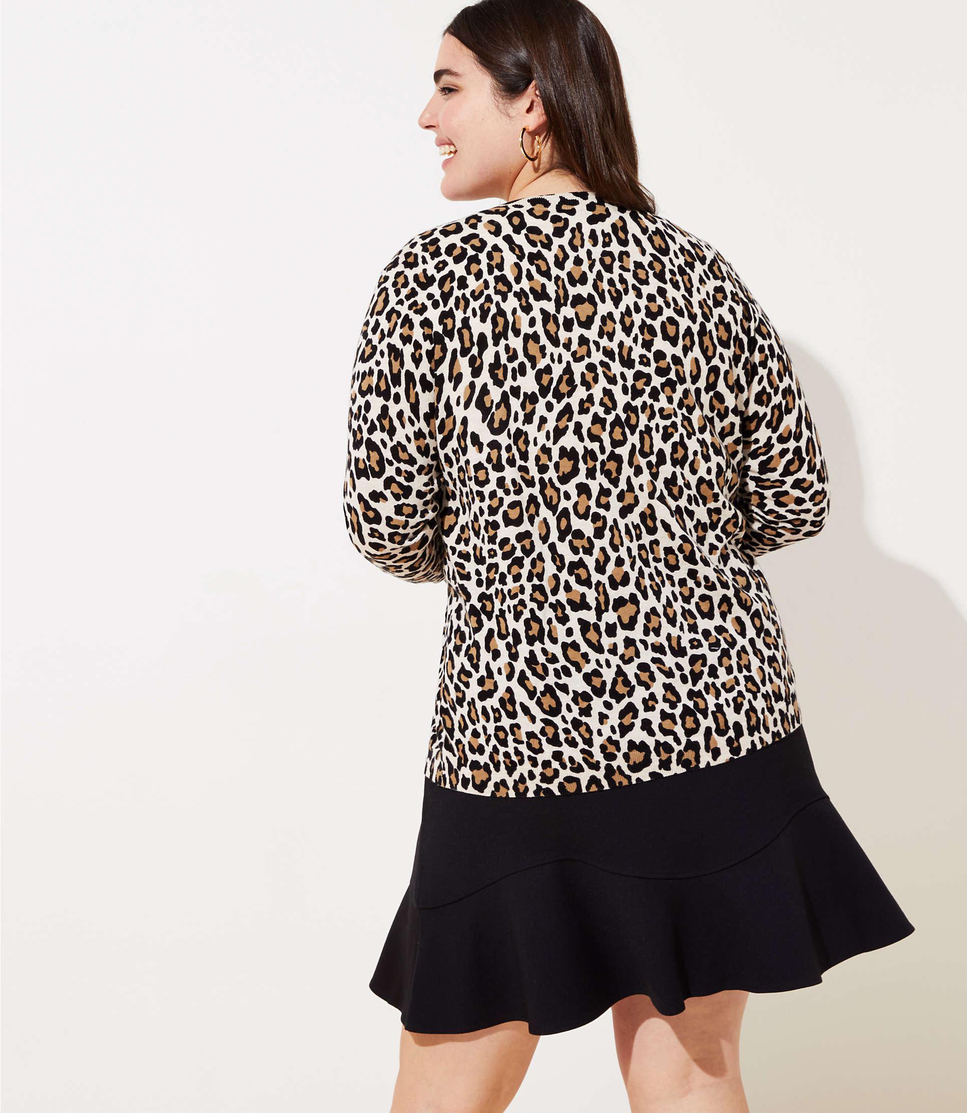 ff9c193dada LOFT - Black Plus Leopard Print Signature Cardigan - Lyst. View fullscreen