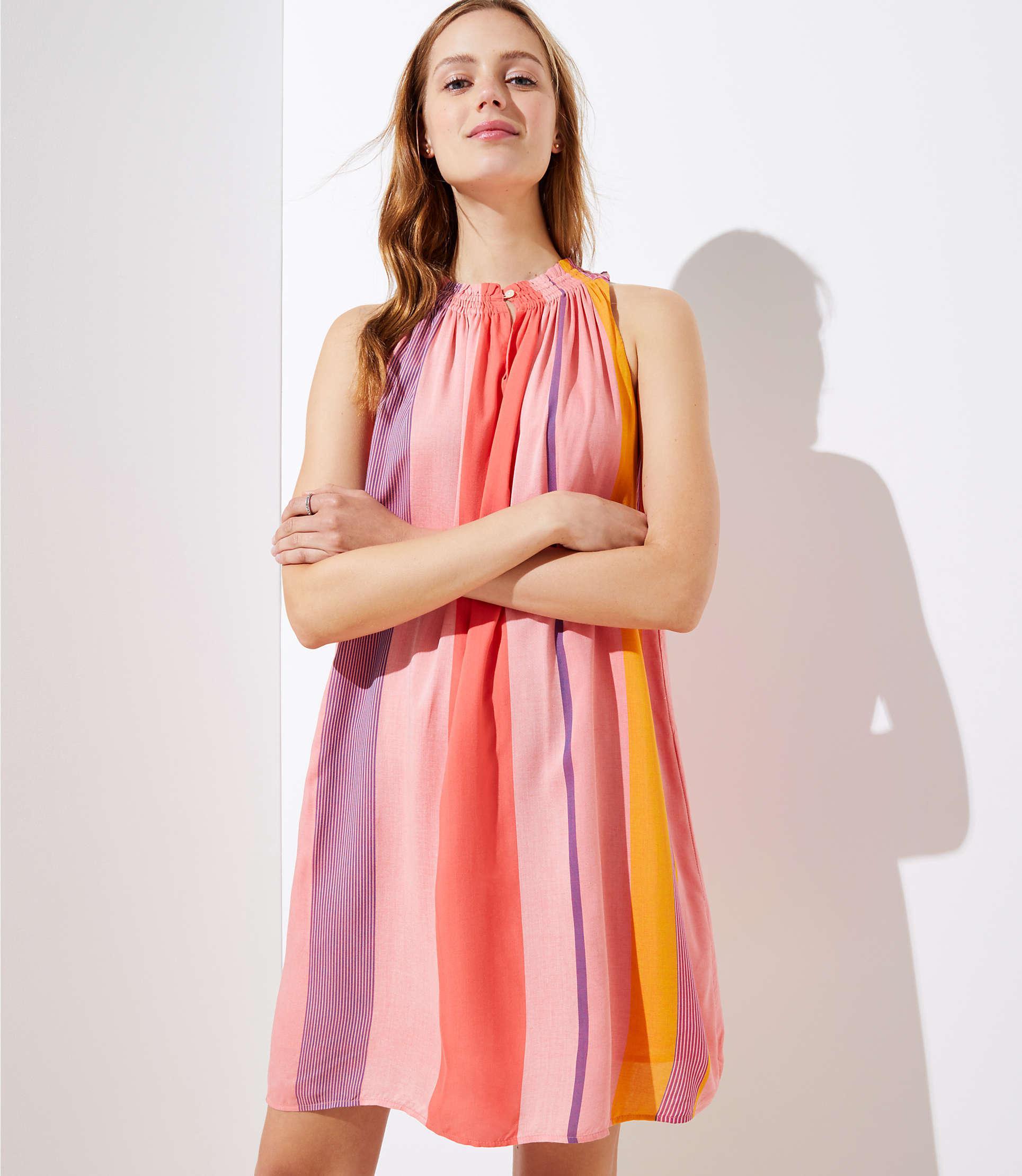c3da40fd1eaf Lyst - LOFT Watercolor Stripe Halter Swing Dress in Pink