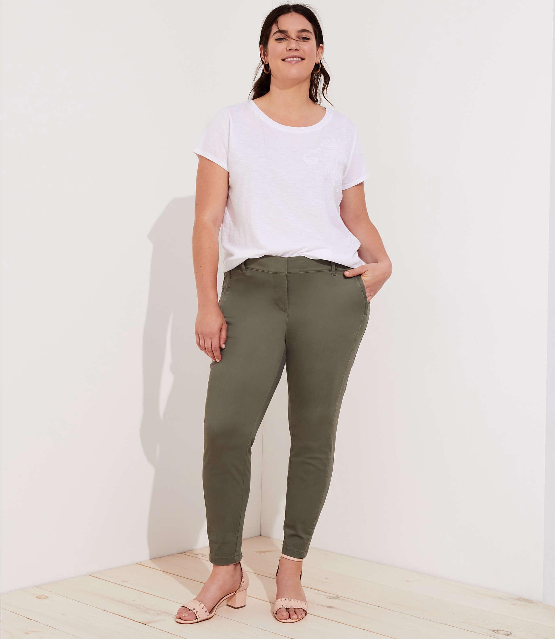 24d280999e Lyst - LOFT Plus Skinny Zip Pocket Sateen Pants