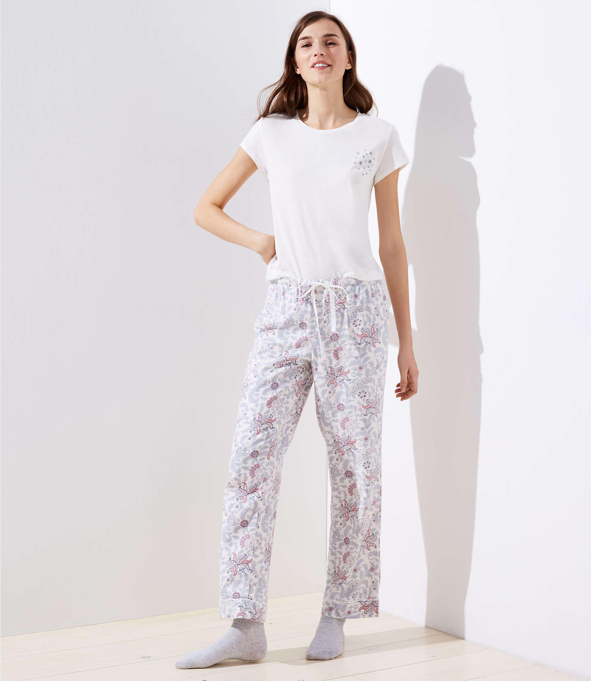 abc6dd0d2f Lyst - LOFT Vine Pajama Pants in White