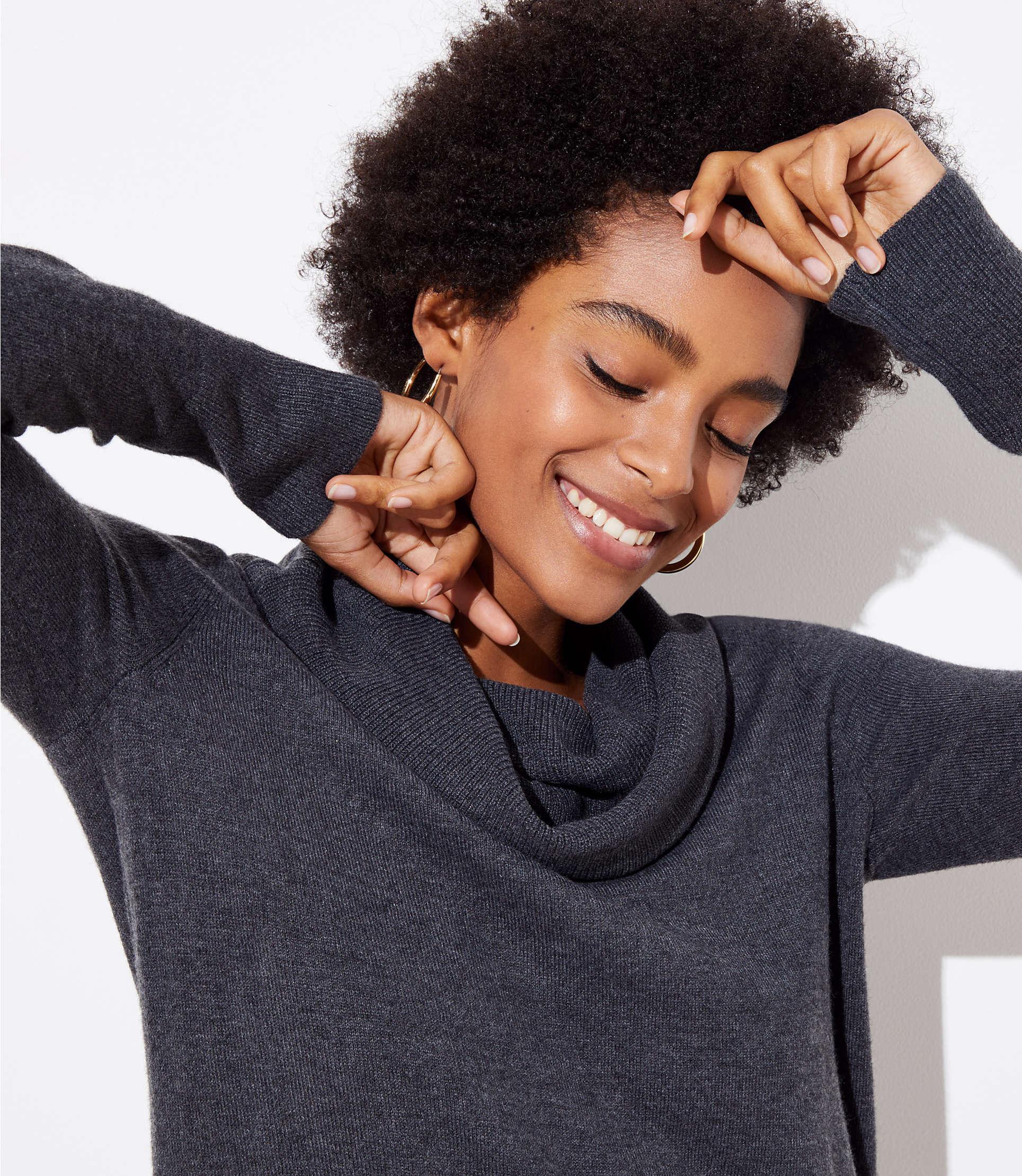 8caf612686c LOFT - Gray Cowl Neck Tunic Sweater - Lyst. View fullscreen