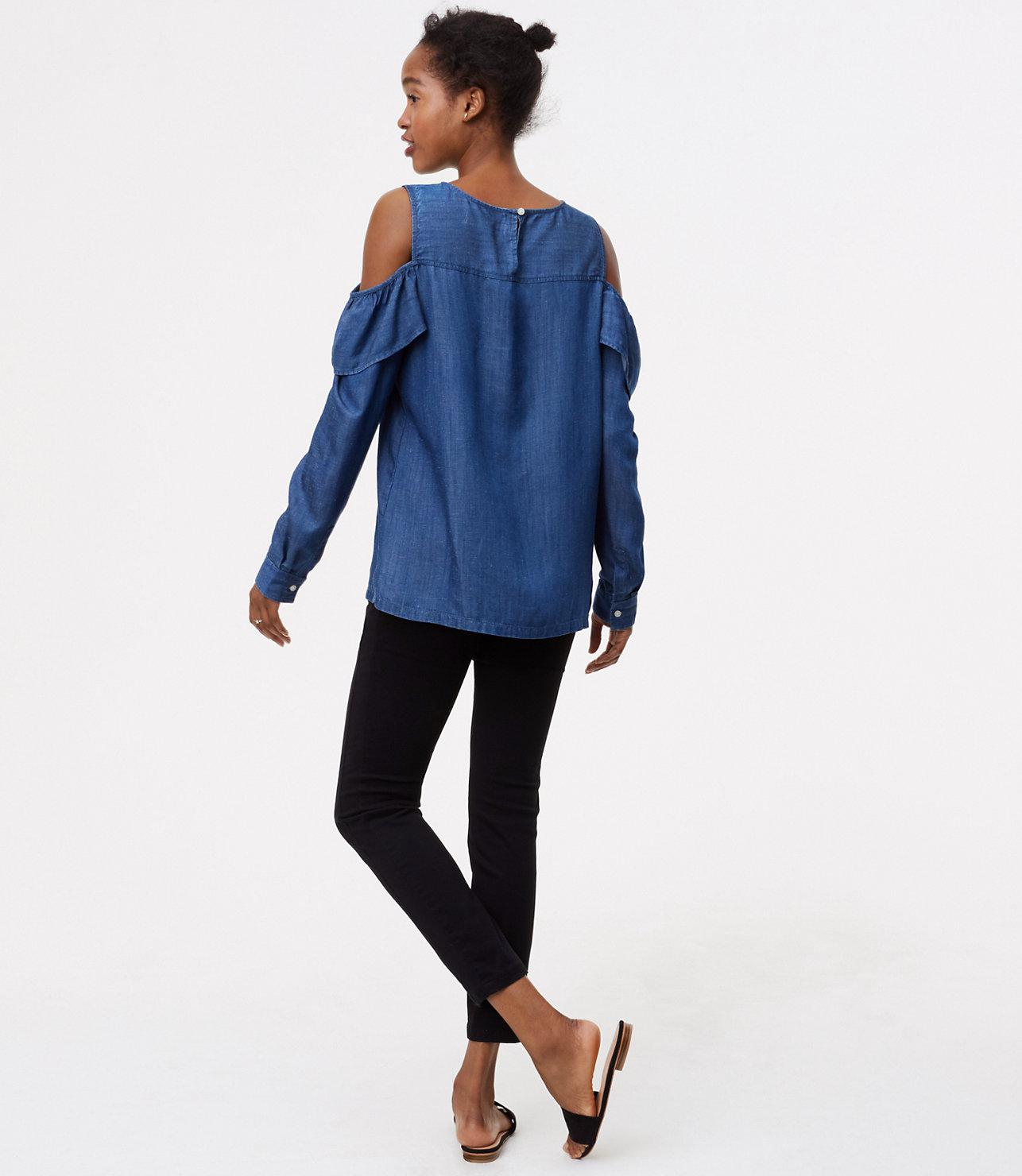 1f856ada23236 Lyst - LOFT Petite Chambray Flounce Cold Shoulder Shirt in Blue