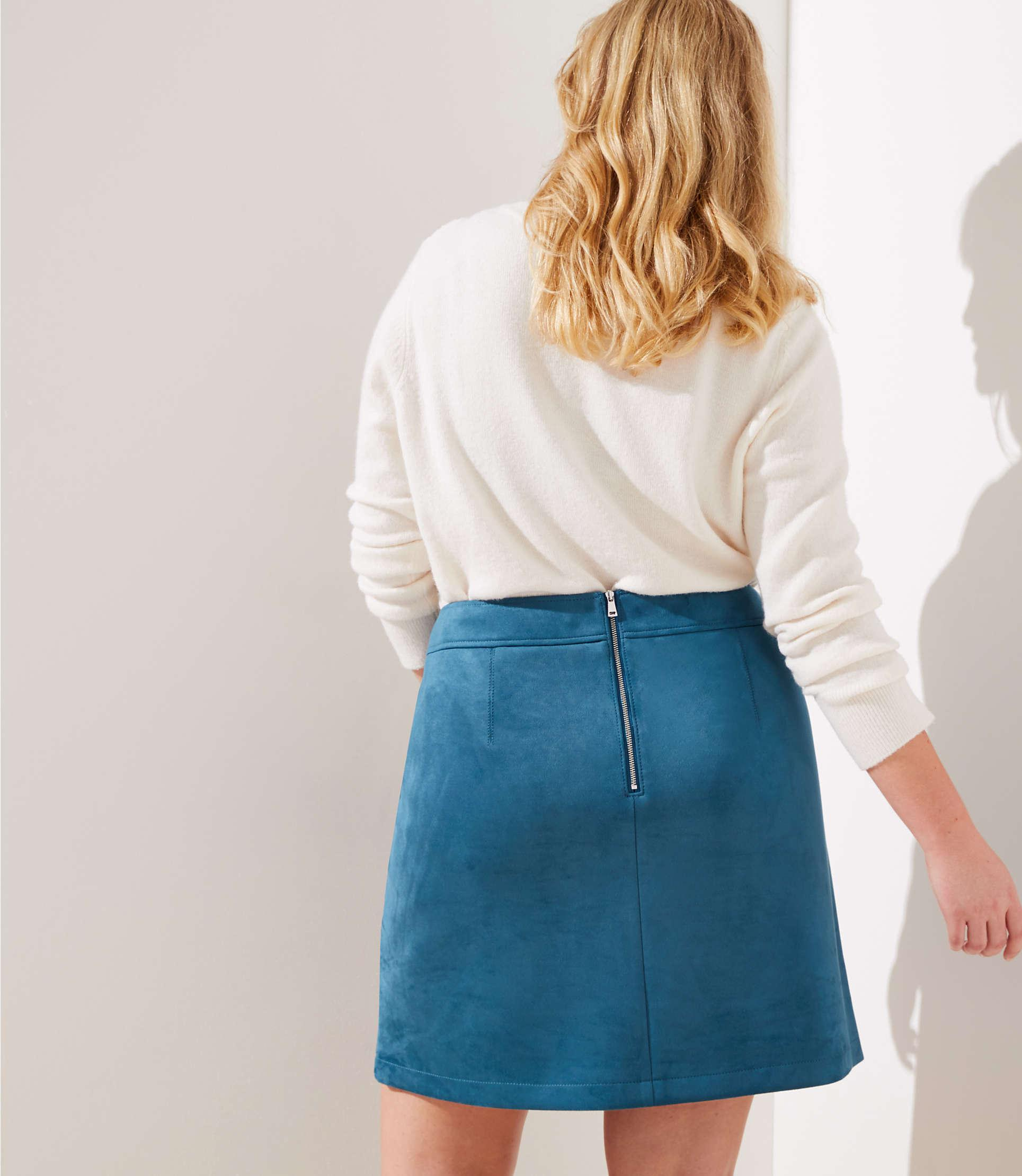 3d7031c04 LOFT - Blue Plus Faux Suede Pocket Shift Skirt - Lyst. View fullscreen