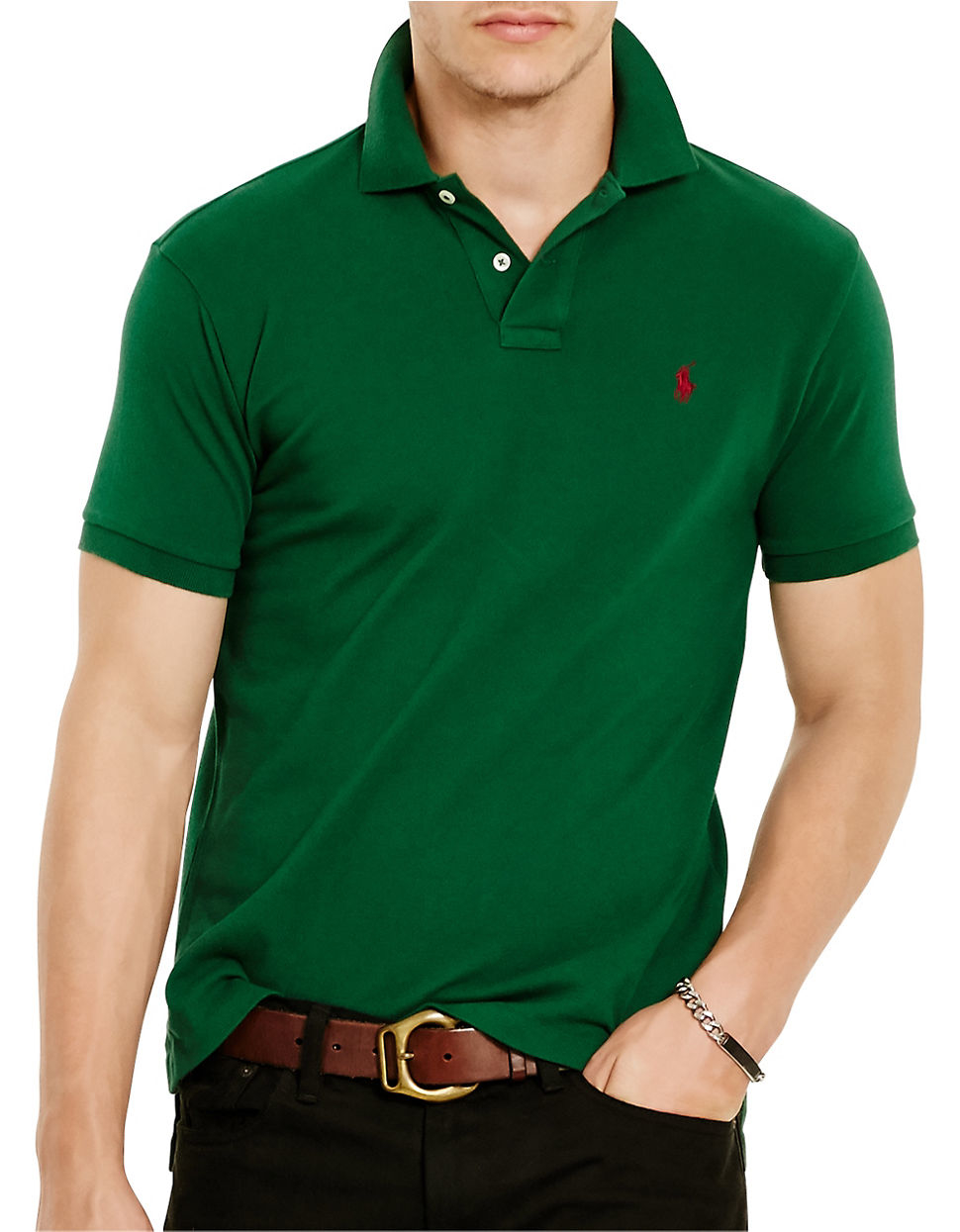 Polo ralph lauren men 39 s classic fit mesh polo shirt in for Forest green polo shirts