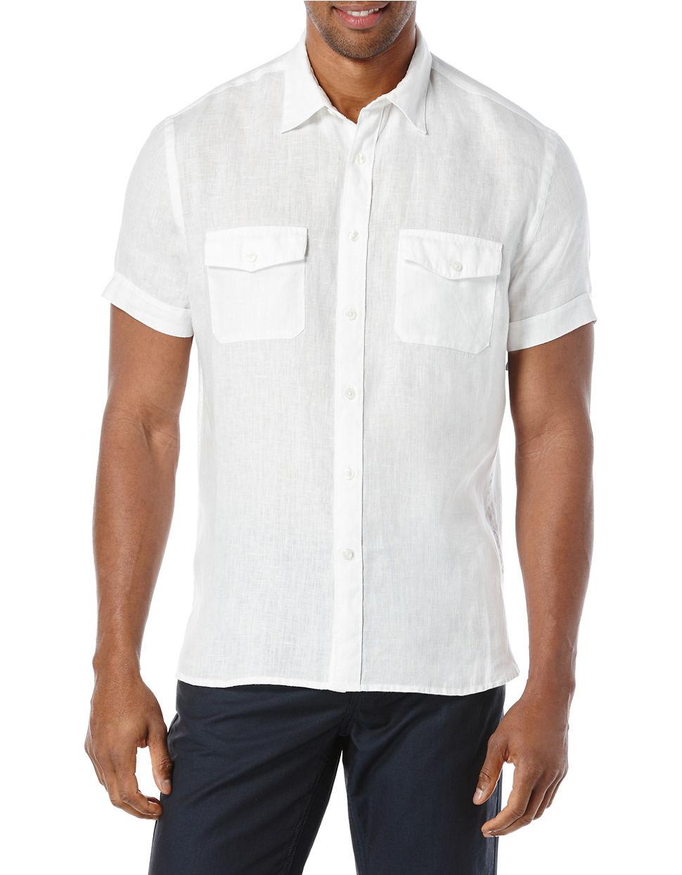 Perry Ellis Short Sleeved Button Front Linen Shirt In