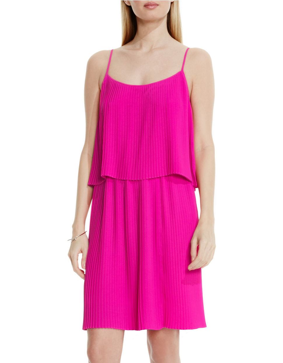 Vince Camuto Petite Pleated Popover Dress In Pink Lyst