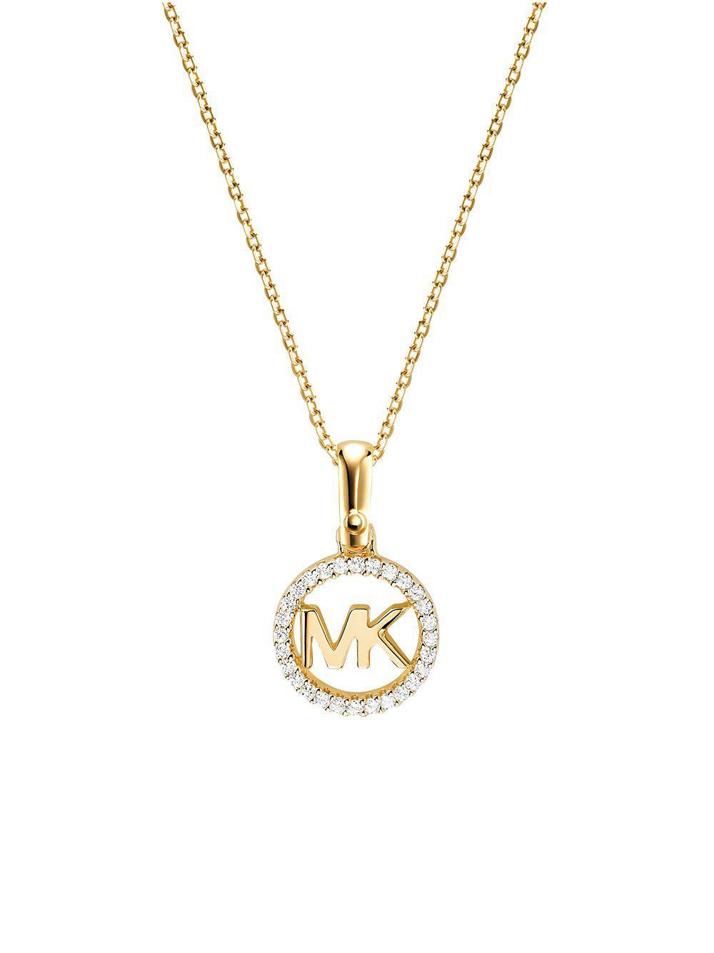 ef058f38d61b6 Michael Kors. Women s Metallic Custom Kors Sterling Silver Logo Starter  Necklace