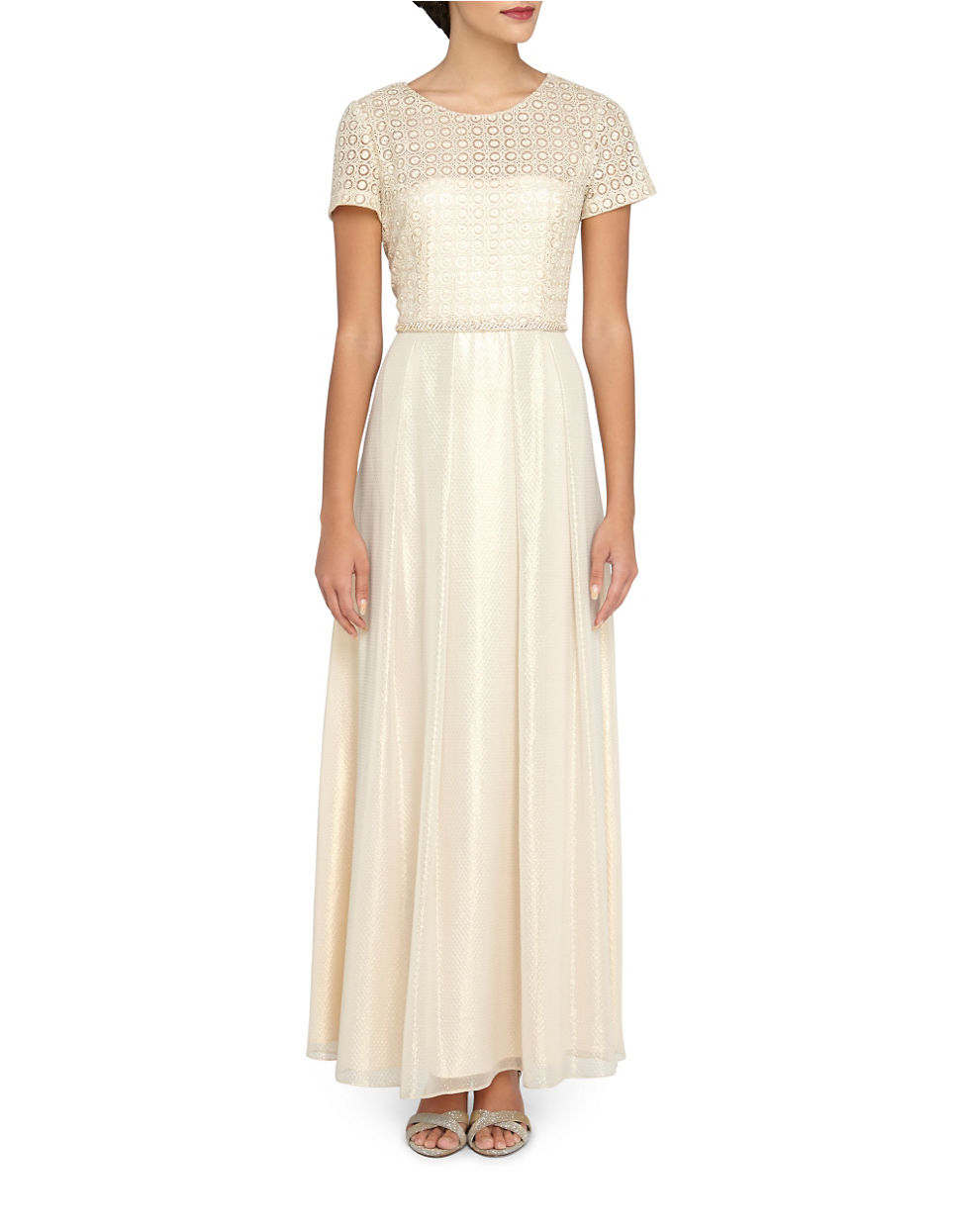 Lyst - Tahari Embroidered Popover Gown in Metallic