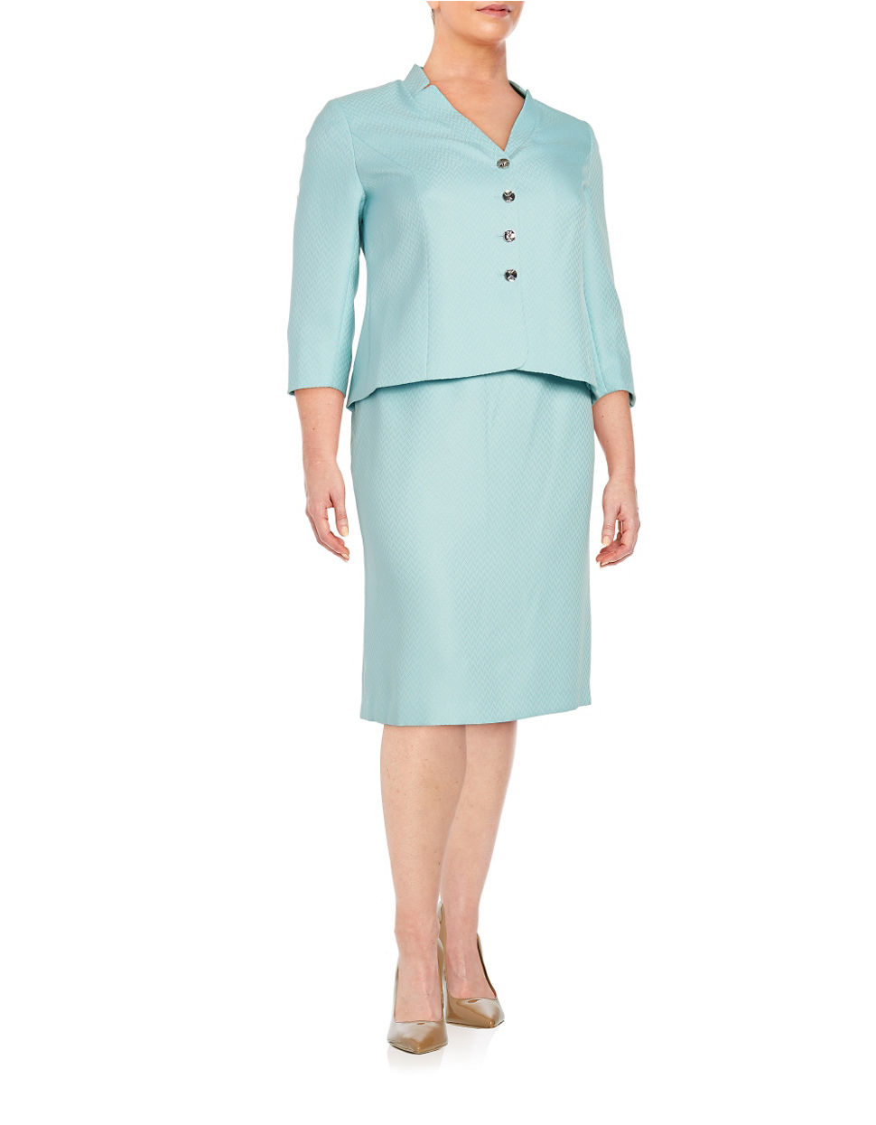 tahari plus two button jacket and pencil skirt suit