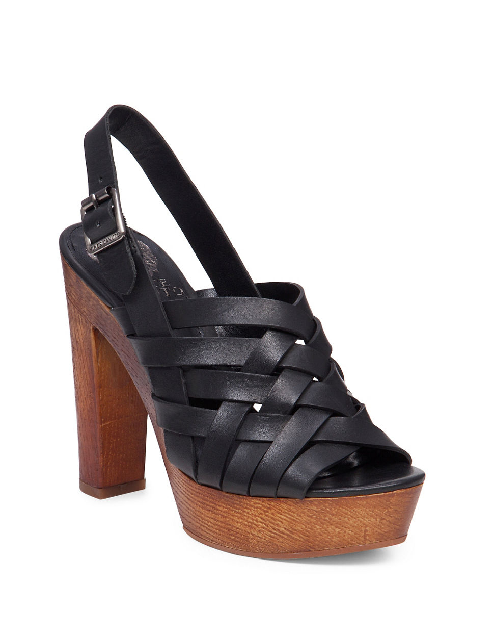 vince camuto elyza leather platform sandals in black lyst