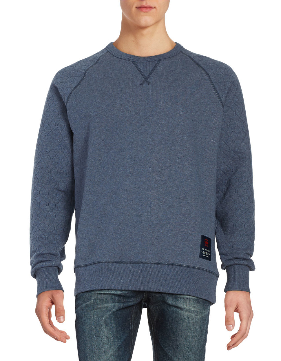 g star raw quilted pullover in blue for men lyst. Black Bedroom Furniture Sets. Home Design Ideas