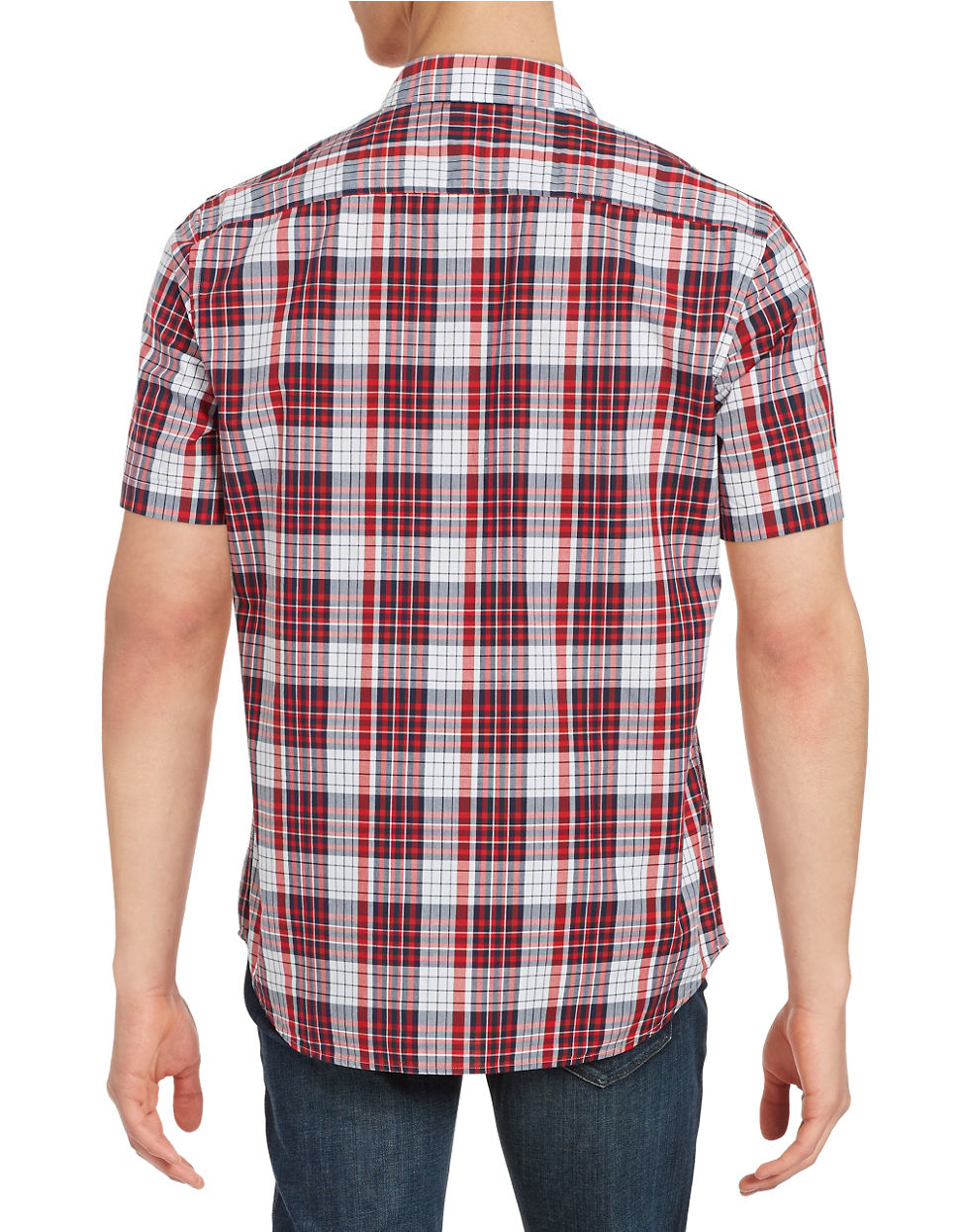 Black brown plaid sportshirt in red for men lyst for Brown and black plaid shirt