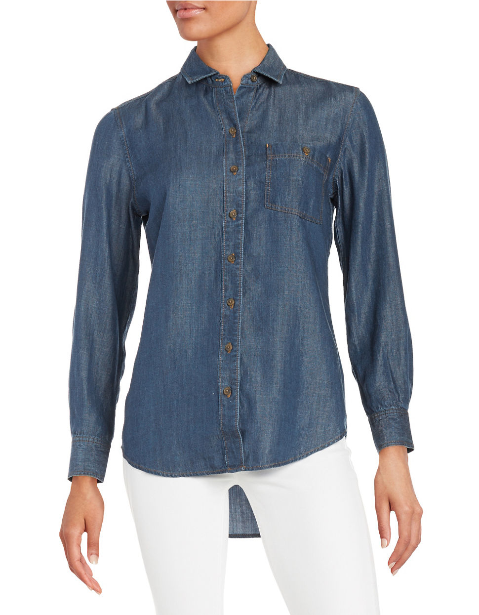 Lord Taylor Roll Tab Button Shirt In Blue Lyst