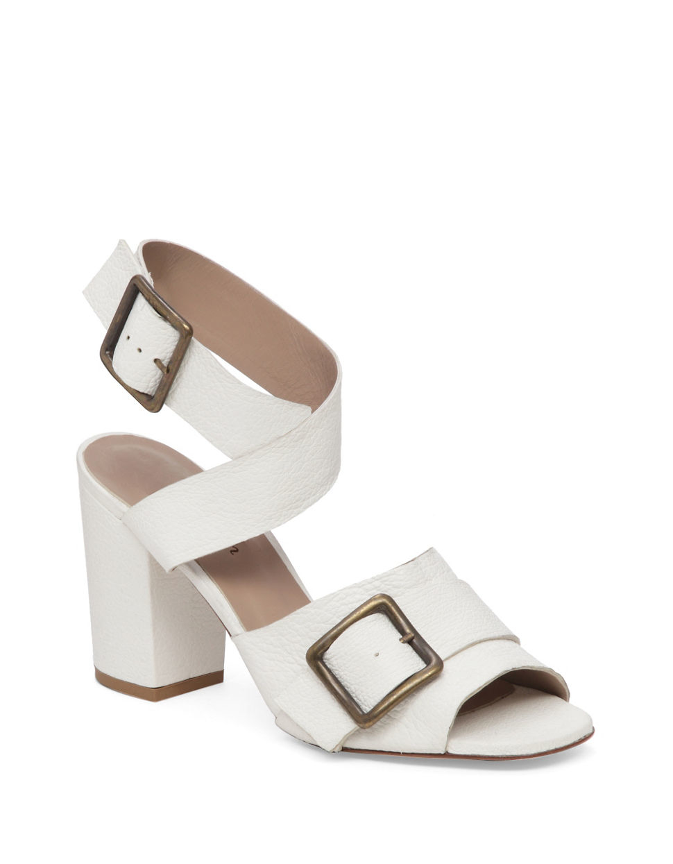 Delman Carly Leather Block Heel Sandals In White Lyst