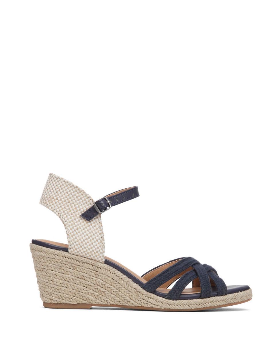 lucky brand kalley3 espadrille wedge sandals in blue lyst
