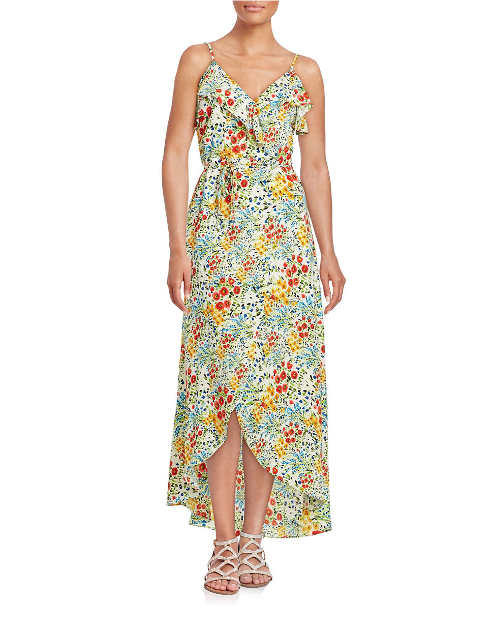 Lord Amp Taylor Floral Split Front Maxi Dress In Green Lyst