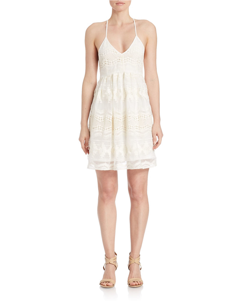 lord taylor crisscross back lace dress in white lyst