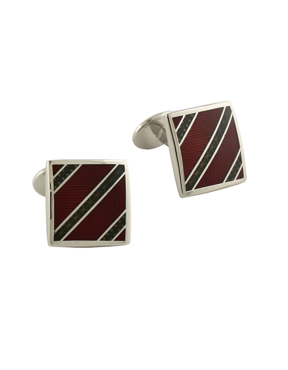 David donahue Sterling Silver And Enamel Striped Cufflinks ...