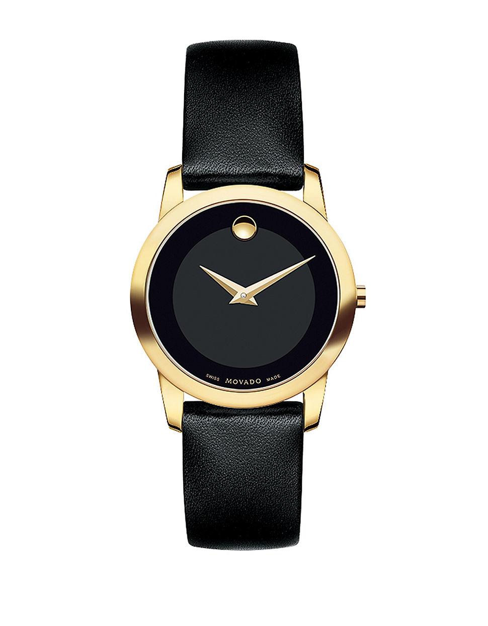Black Goldtone Round Bracelet Watch - Women