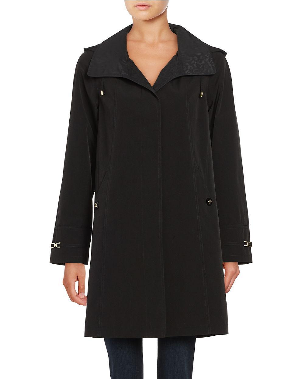 Gallery Petite Hooded A Line Rain Jacket In Black Lyst