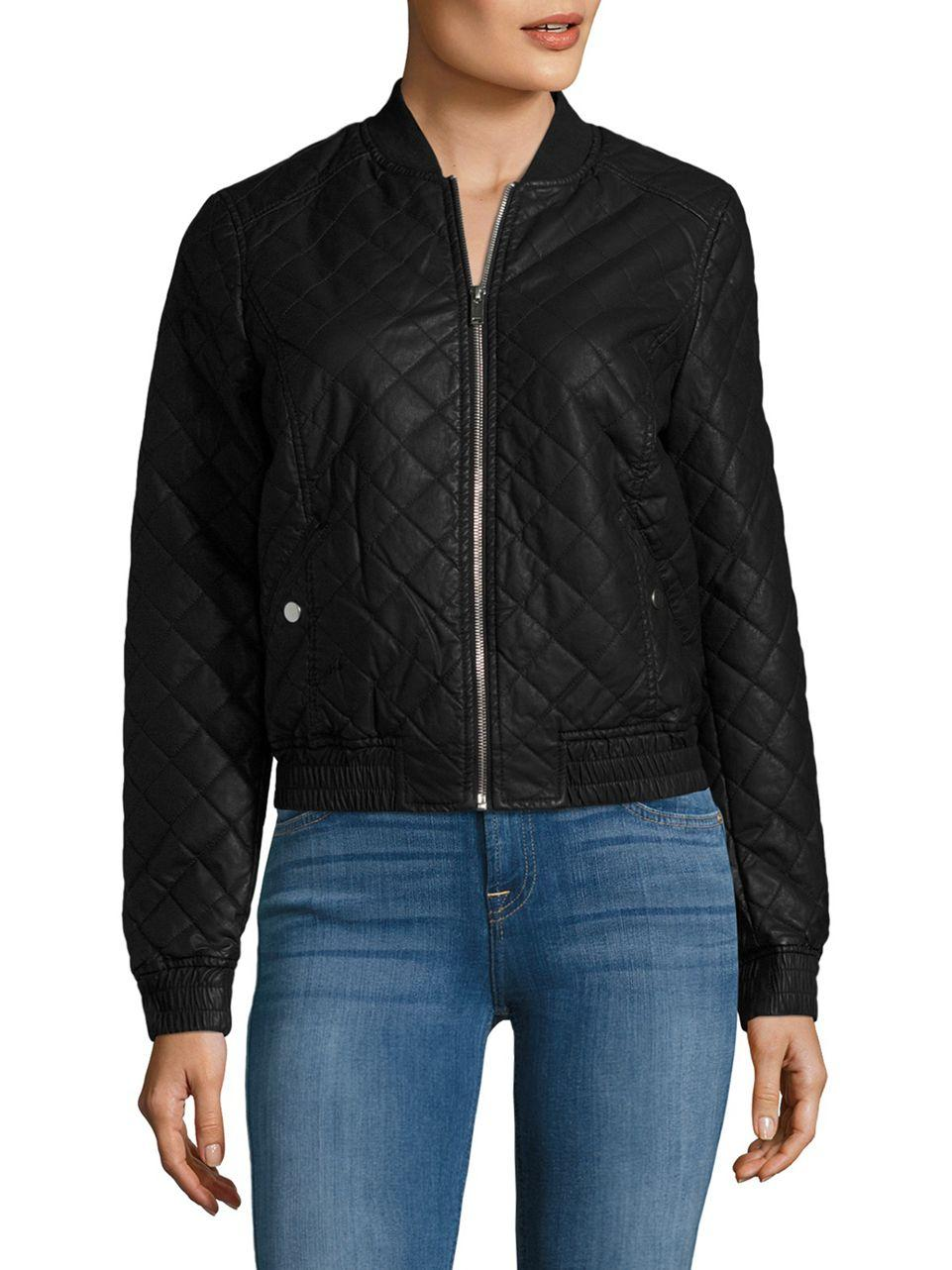 lyst vero moda faux leather quilted bomber jacket in black. Black Bedroom Furniture Sets. Home Design Ideas
