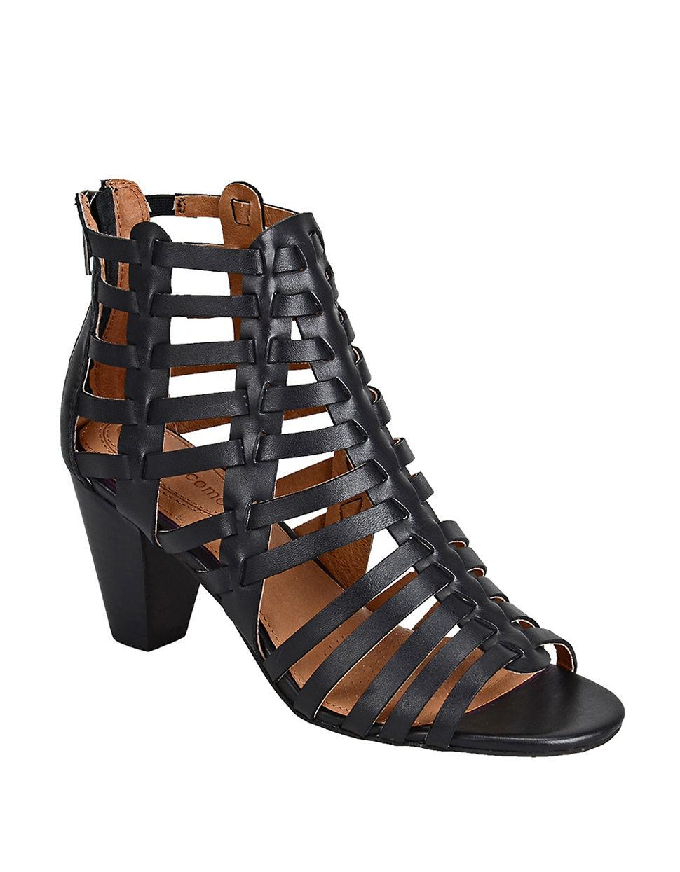 Corso Como Cour Strappy Leather High heel Sandals In Black