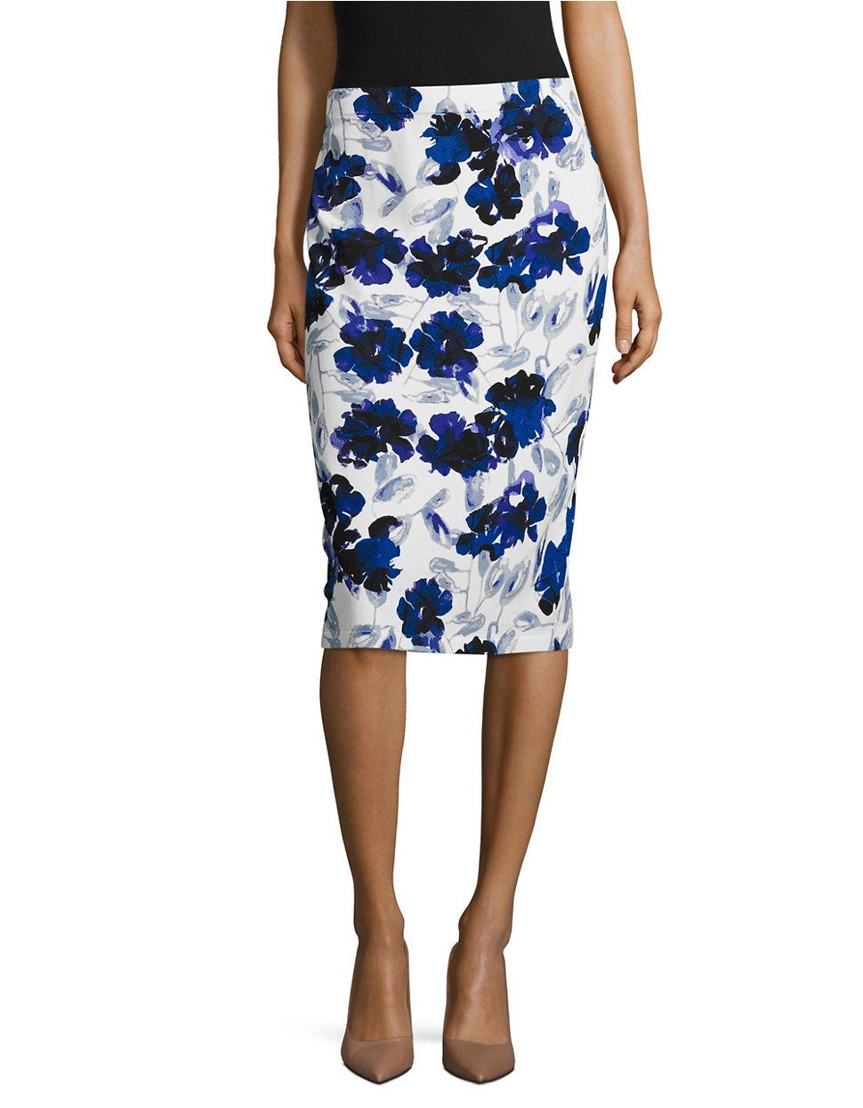 ivanka floral pencil skirt in white lyst