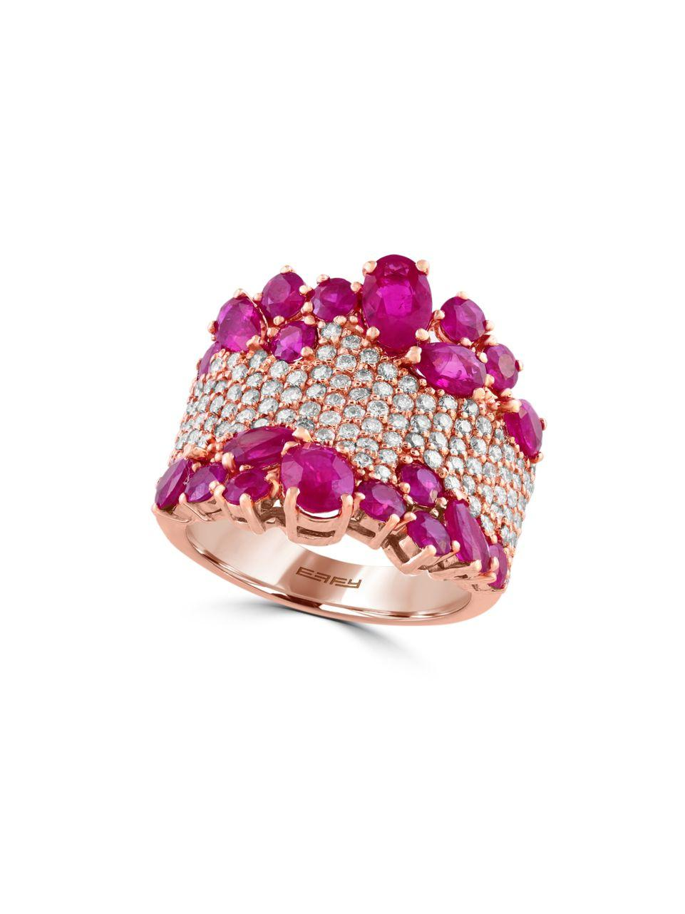 Effy Amore 1 12 Tcw Diamond Ruby And 14k Rose Gold Ring