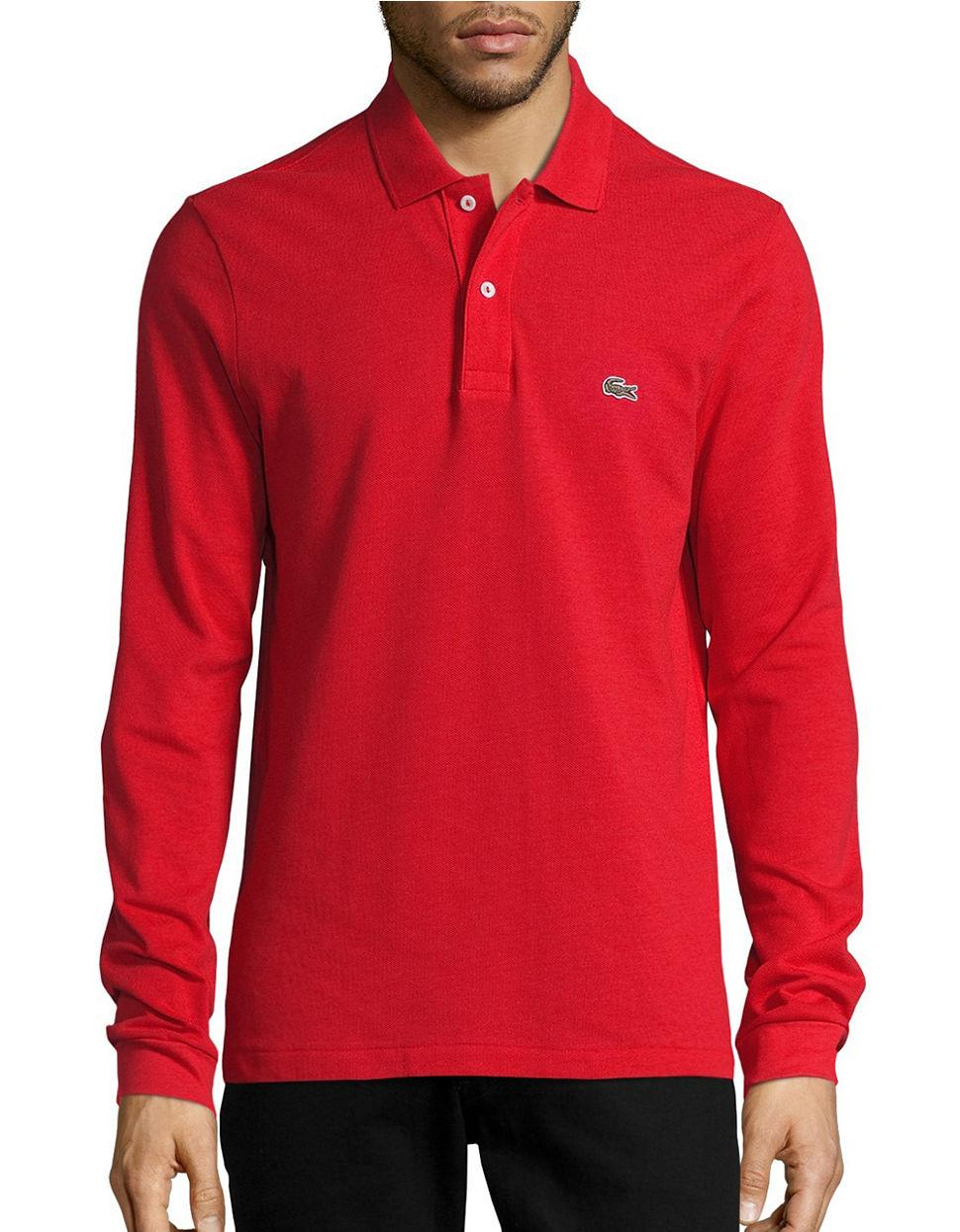 Lacoste Pique Polo Shirt In Red For Men Lyst
