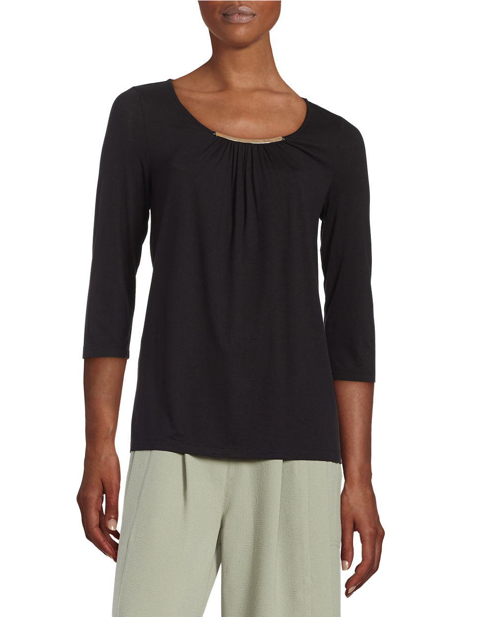 Lyst Lord Taylor Petite Shirred Neckline Blouse In Black
