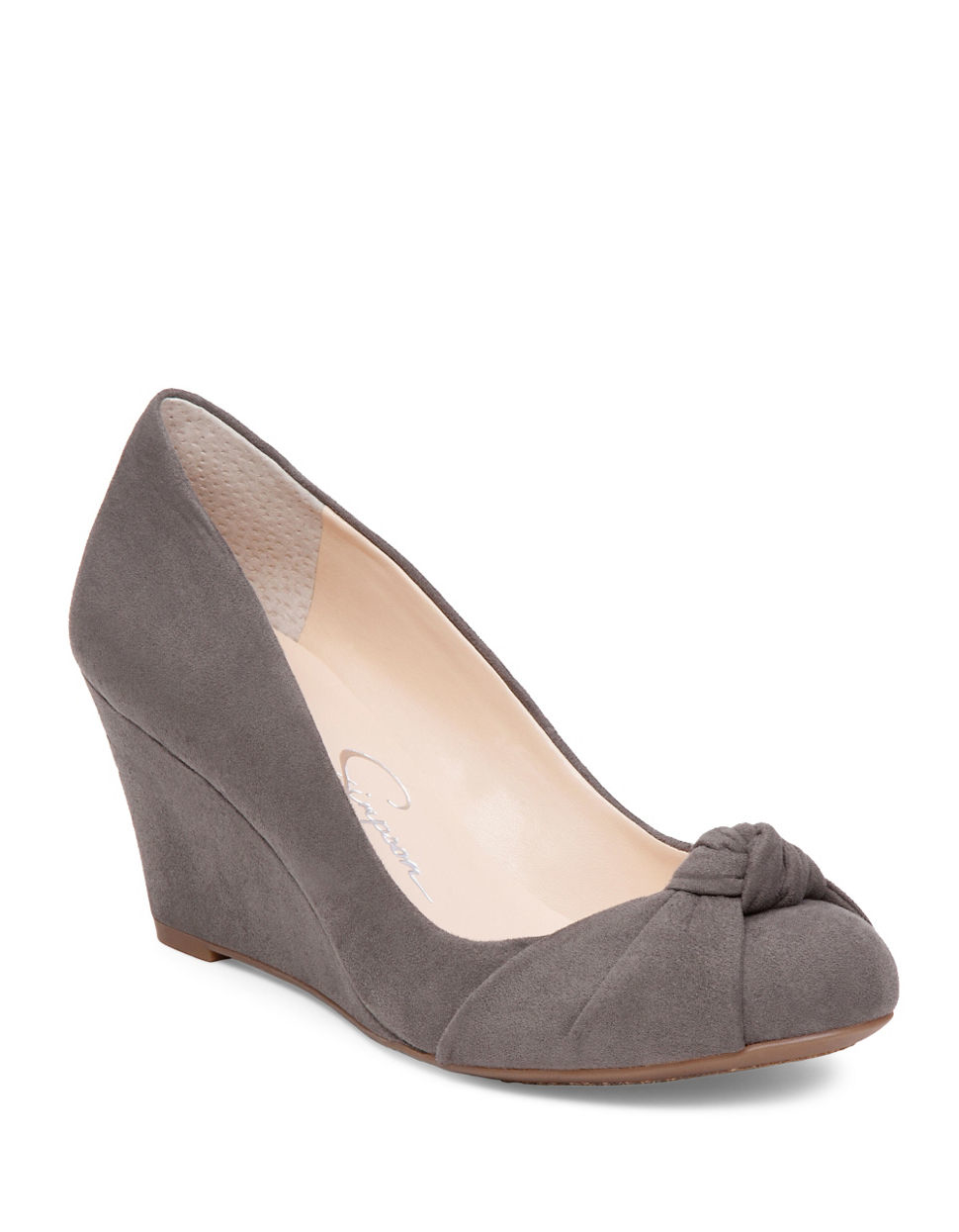 Gray Suede Wedge Shoes