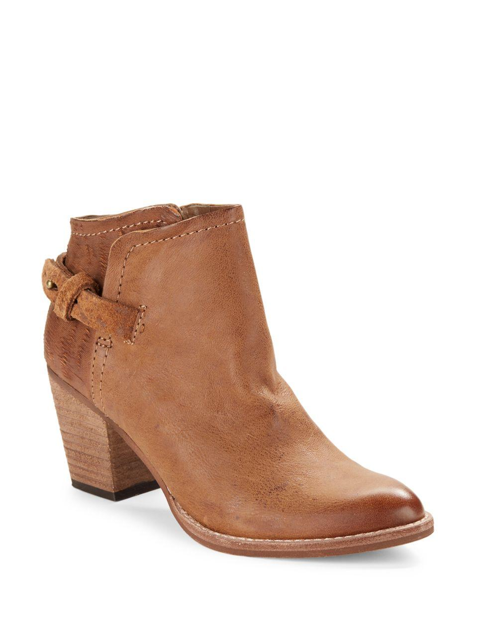 dolce vita joplin leather ankle boots in brown lyst
