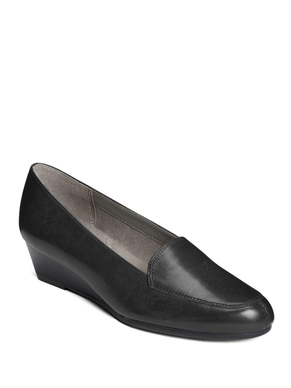 aerosoles lovely leather slip on shoes in black save 21