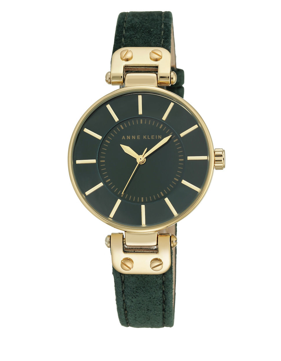 Anne klein round leather strap watch in green lyst for Anne klein leather strap
