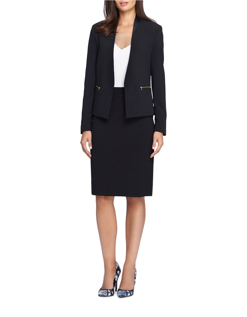 tahari two faux leather trimmed jacket and skirt