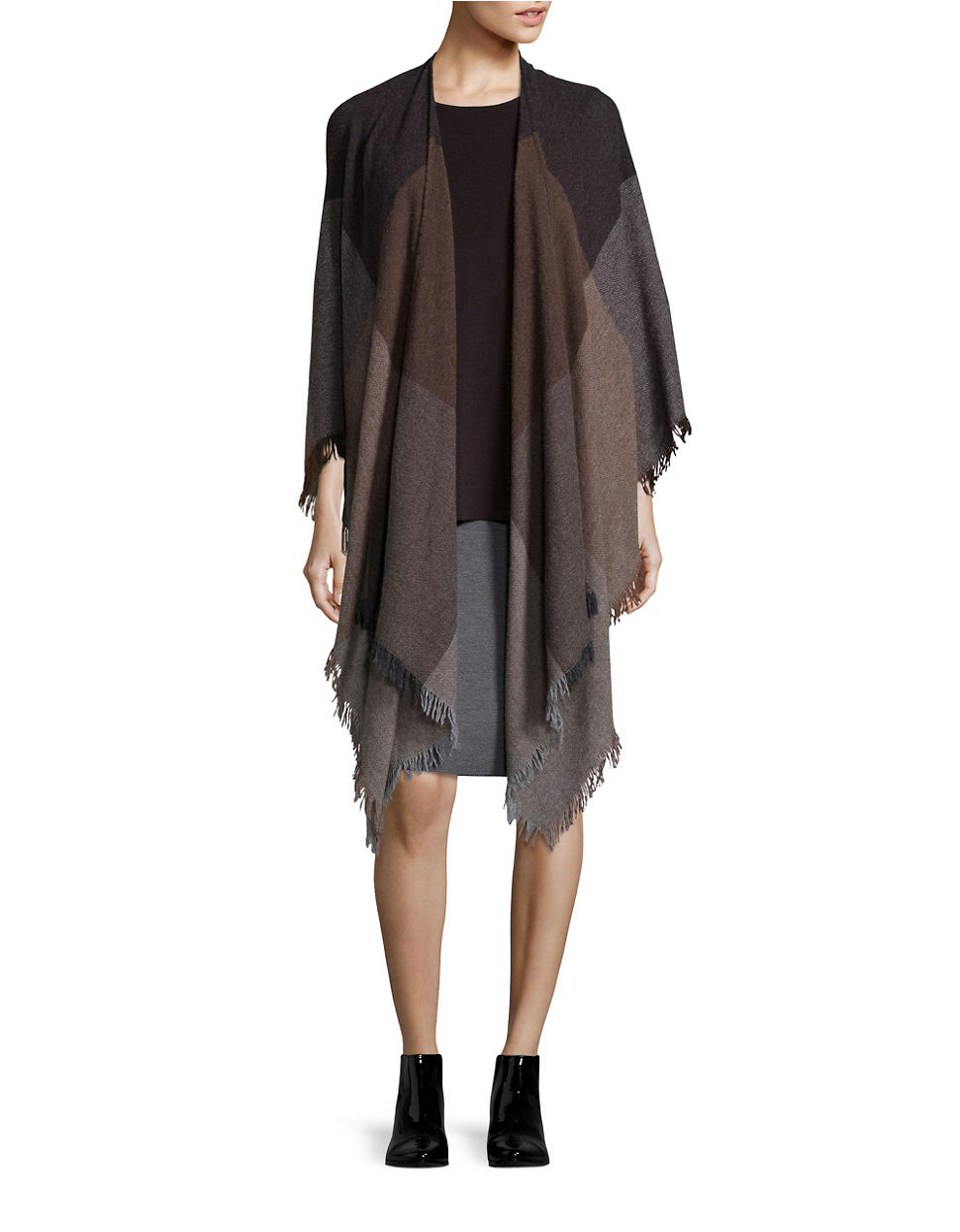 eileen fisher wool pencil skirt in gray lyst