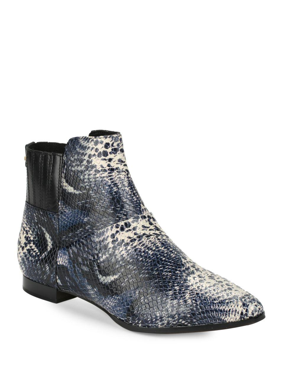 calvin klein eunice snakeskin embossed leather ankle boots