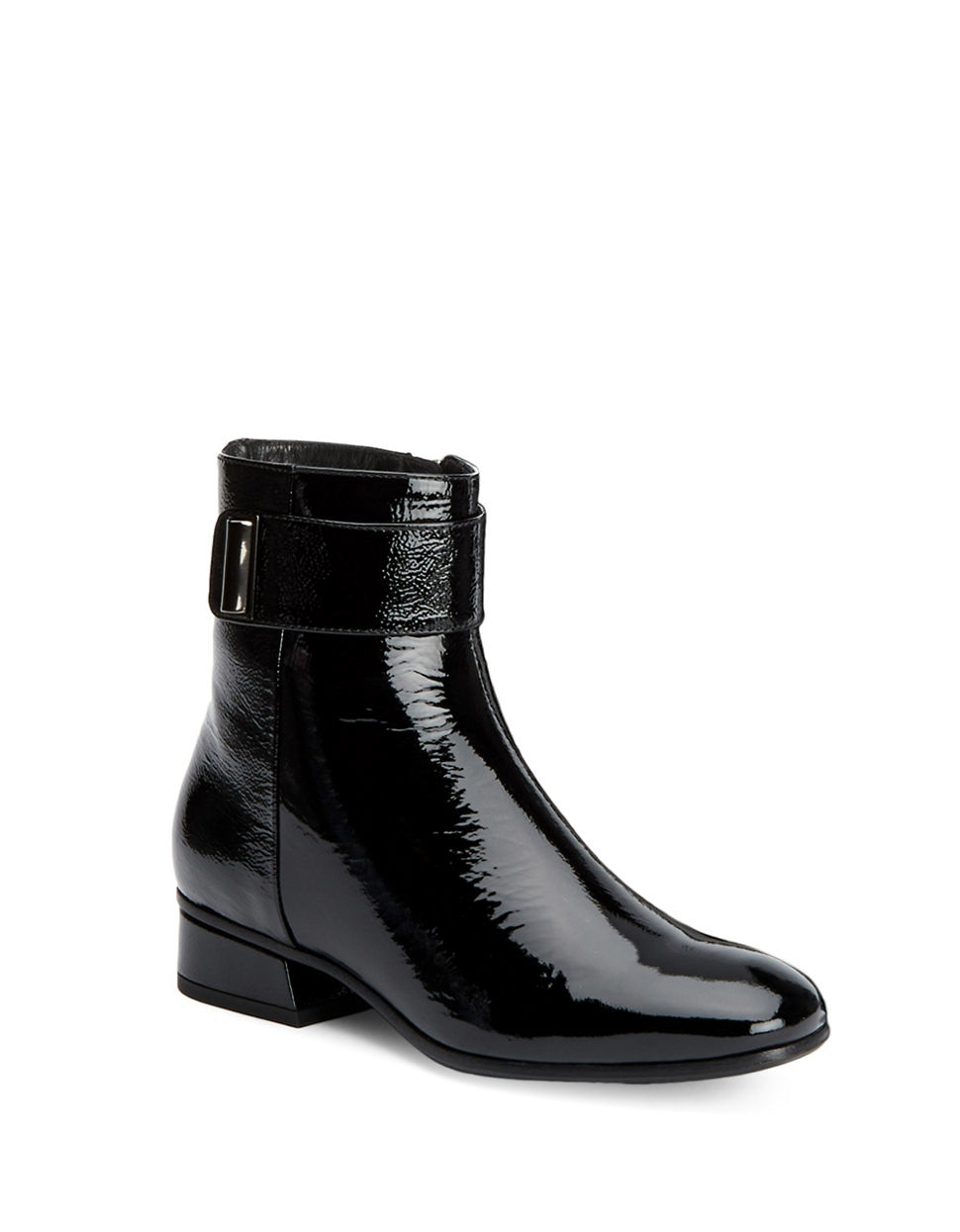 aquatalia lupita patent leather ankle boots in black lyst