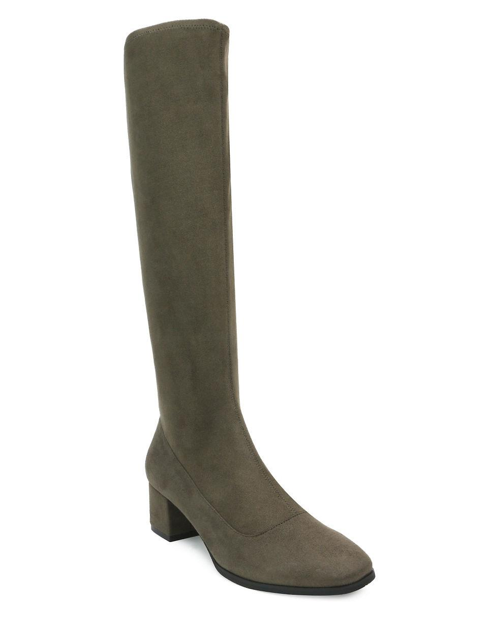 tahari gideon knee high suede boots in green lyst