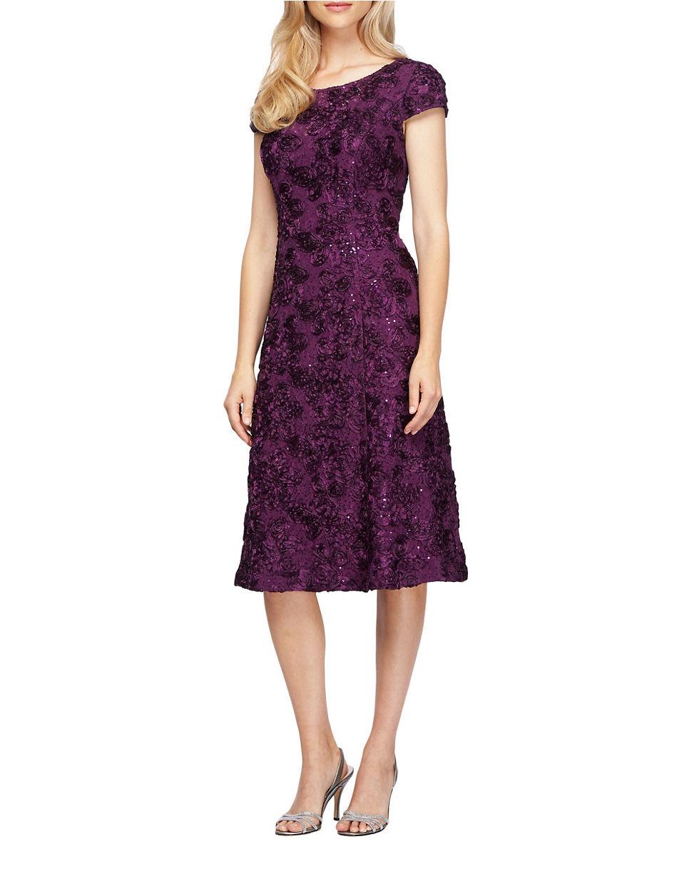 Alex evenings A-line Rosette Dress in Purple