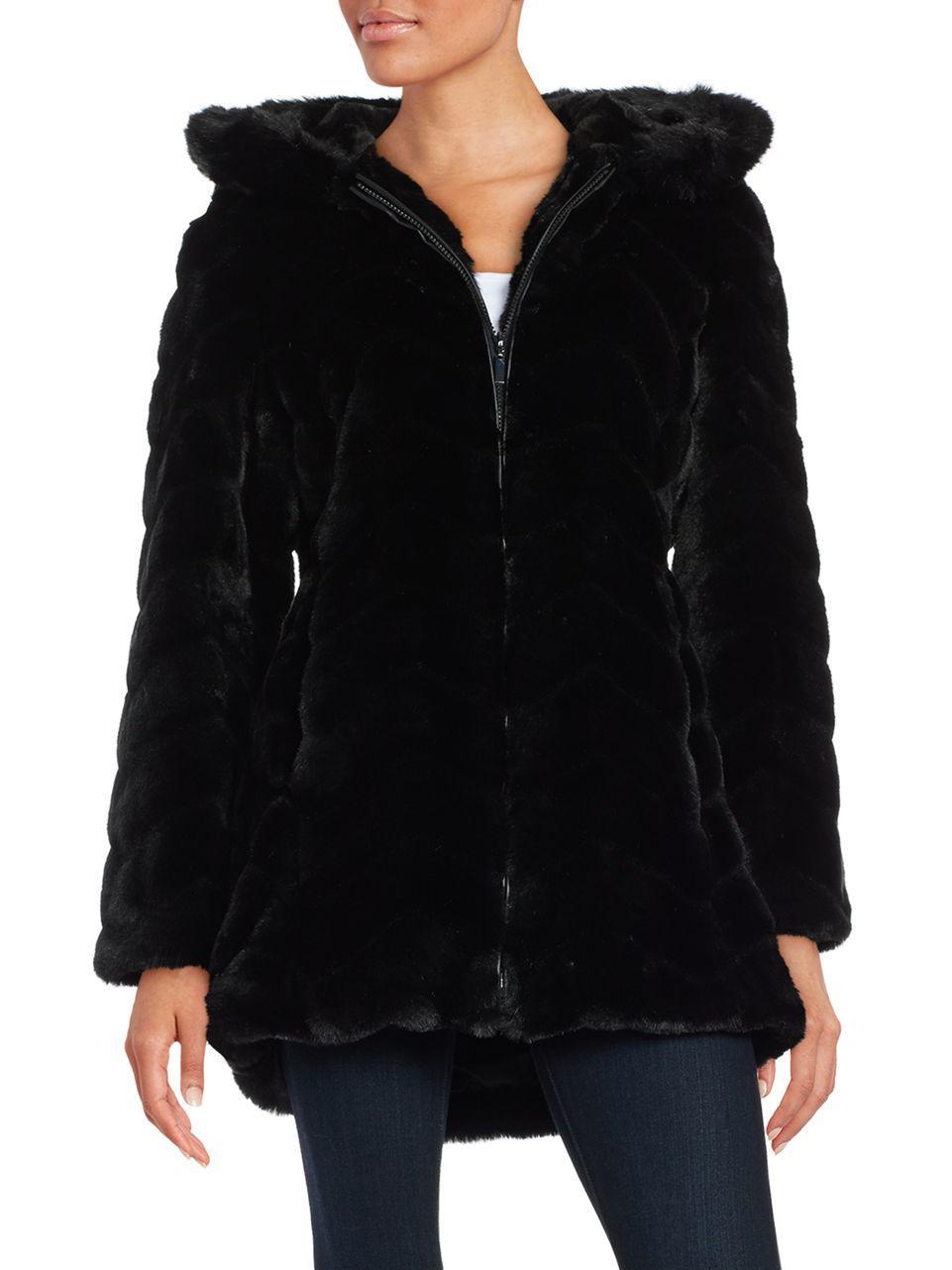 Gallery Hooded Faux Fur Coat In Black Lyst