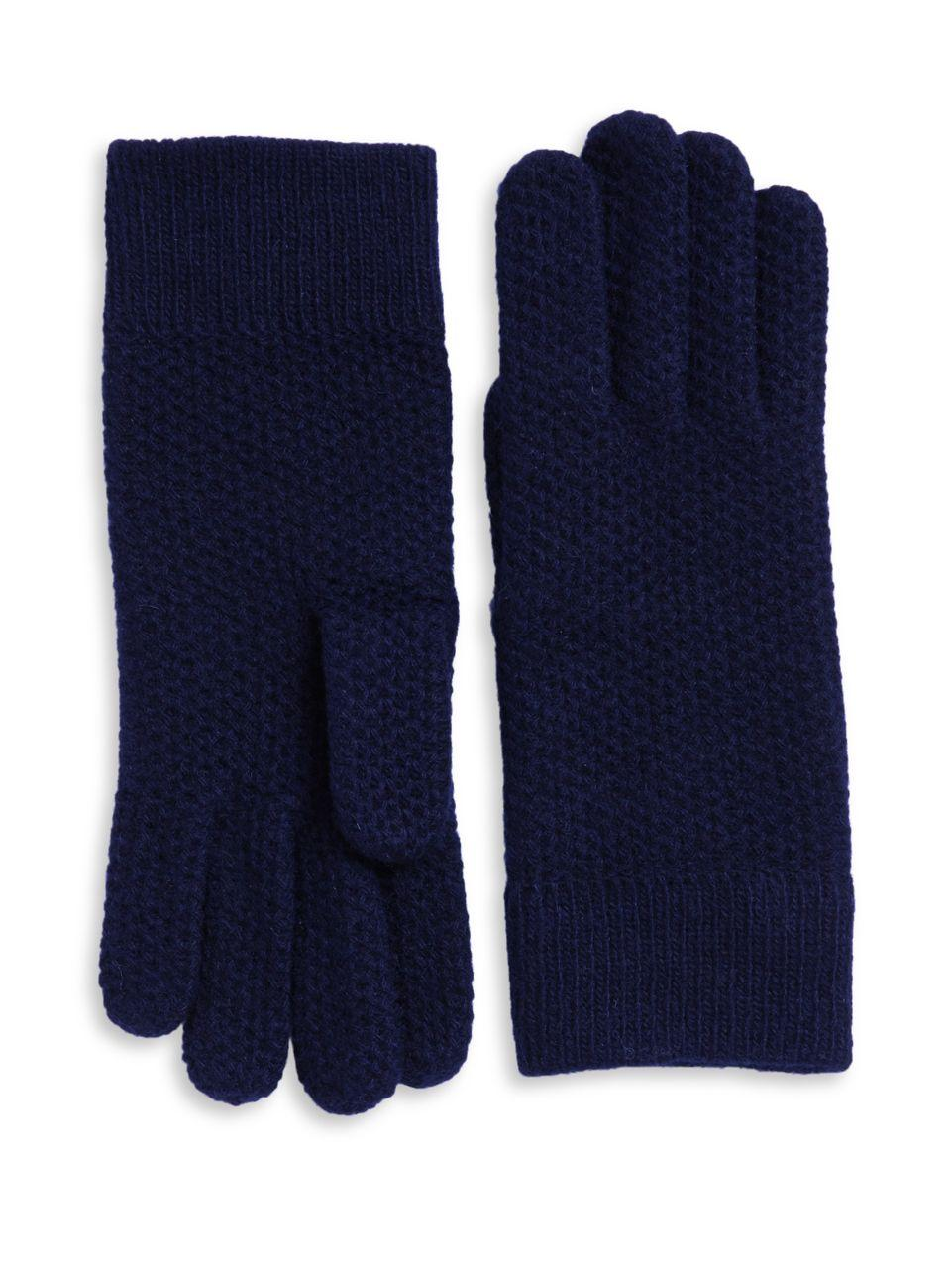 Knitting Pattern Cashmere Gloves : Portolano Knit Cashmere Gloves in Blue Lyst